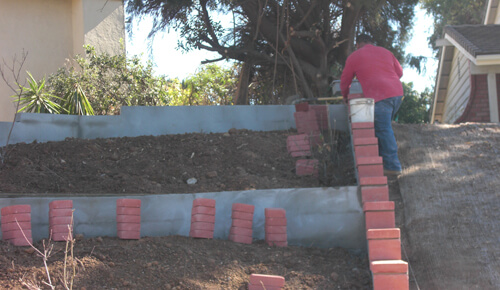 Block Wall Concrete Installation