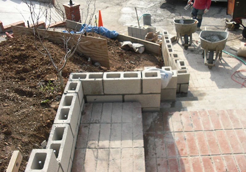 Stepped Planter Wall Installation Yorba Linda